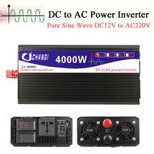 4000W Car Vehicle Power Inverter Pure Sine Wave 12V DC to 220V AC Transmitter