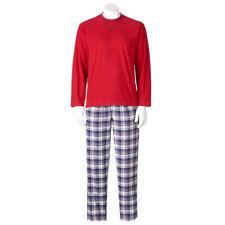 Chaps Men's Big & Tall Pajama Sleep Set Henley Shirt & Flannel Lounge Pants XLT