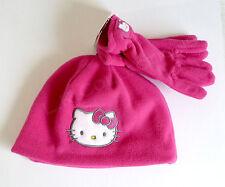 HELLO KITTY Pink Fleece Hat & Gloves Winter Set Child OSFM NWT SANRIO