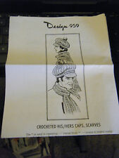 Vintage Laura Wheeler Design 959 His & Hers Crocheted Caps & Scarves