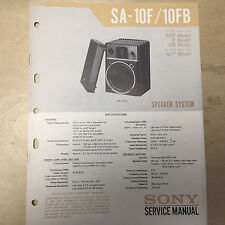 Sony Service Manual for the SA-10F SA-10FB Speaker System ~ Repair