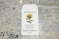 10 x Sunflower Seed Wedding Favours - fully personalised with poem - Table Guest