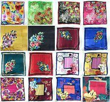 lot of 5 large satin square scarf wholesale bulk vintage floral peony bohemian
