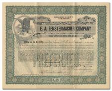 E. A. Fenstermacher Company Certificate (Scranton, PA Piano Company)