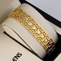 18K Yellow Gold Filled Men/Women Bracelet 7.7inch Chain Link 16mm Wide Jewelry