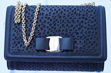 New Salvatore Ferragamo Miss Vara Bag Black Bow Clutch Crossbody Leather