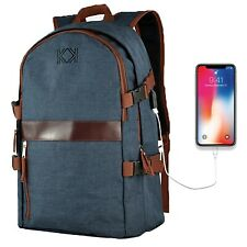 Laptop Backpack KK 15.6 inch Laptop Rucksacks USB Charging Port,Blue School Bag