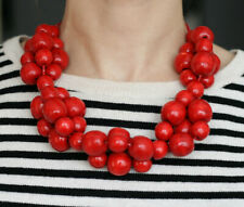 Red Bead Necklace chunky statement necklace, large wooden bead necklace