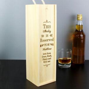 Personalised Reserved For Alcohol Bottle Presentation Box Wine Whiskey Vodka