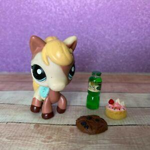 100% AUTHENTIC Littlest Pet Shop LPS #1629 Brown White Horse w Accessories