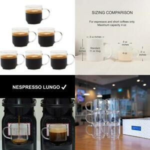 Zenco Living Espresso Cups (4 Ounce) With Large Handle, Set Of 6 - Glass Coffee