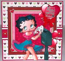 Handmade Greeting Card 3D Valentines Day With Betty Boop Mailing A Valentine