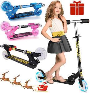Kids Kick Push Scooter 2 Wheels LED Flashing Wheels Boy Girl Scooter Gift Child.