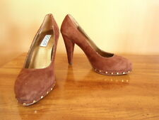 Women's Size 6M Dolce by Mojo Moxy Chocolate Brown Suede Leather Heels Shoes NEW