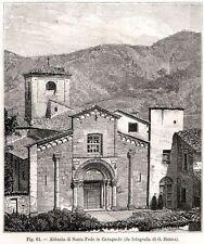 Cavagnolo: Abbazia di Santa Fede. Torino. Stampa Antica + Passepartout. 1891