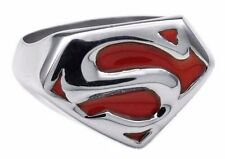 "DC Comics Superman ""S"" Logo Silvertone/Red Enamel Ring - Men's Size 12"