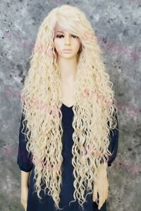 Light Blonde Extra Long Full Spiral Curls Lace Front Human Hair Blend Wig STFM
