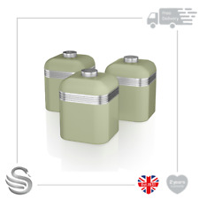 Swan Set of 3 Retro Storage Canisters, Green- Brand New