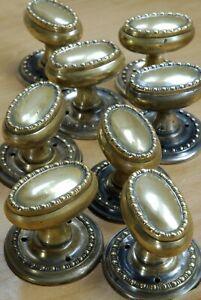 4 Pairs Of Edwardian Brass Door Knobs Antique Original Mortice Lock Hardware