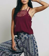 4113 New Free People FP One Womens FP One Lace Smocked Two Tank Blouse Top XS