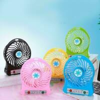 Portable Rechargeable LED-Light Fan Air Cooler Mini Desk USB 18650 Battery K7F6