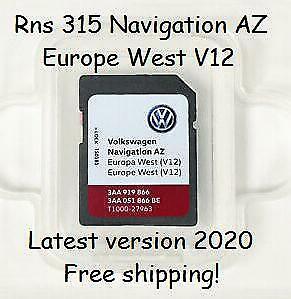Volkswagen Rns315 navigation az Europe West v12 2020 scheda card sd