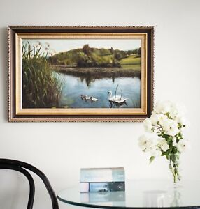 Beautiful tranquil oil on board painting of a landscape Impressionist Art