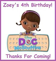 """(9)PERSONALIZED Doc McStuffins Party Stickers, 2 1/2""""Birthday Favors Bag Labels"""