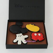 NWT Disney X Coach Mickey Mouse Leather Hang Tag Bag Charm Set 66520 RARE NEW