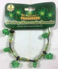 ST. PATRICKS DAY Irish Charms Bracelet 3 Flashing Shamrocks Bead Bracelet   1/4C