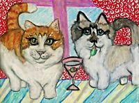 ACEO MUNCHKIN CAT drinking Martini ART KSams Modern Artist Trading Card 2.5x3.5