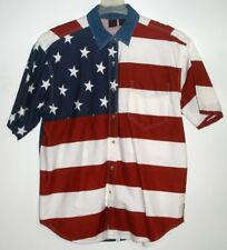 LADIES RED-WHITE-BLUE FLAG PATTERN SHIRT - Button Front - Short Sleeve - Size Lg