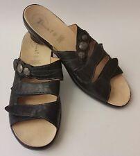 Think! Womens Black Sandals Slides Shoes 3 Straps Size US 12 EU 42