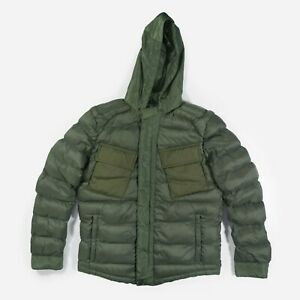 Puffer Jacket Coat Quilted Padded Military Bomber Zip Hooded Khaki Green Men's M