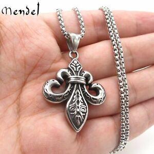 MENDEL Mens Fashion Stainless Steel Fleur De Lis Pendant Necklace Jewelry Chain