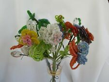 French Glass Bead Flower Blossoms Bouquet Multi-Color Handmade