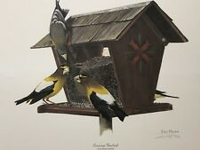 FINE ART LITHOGRAPH: Evening Grosbeak By Ray Harm 16 X 20 Artist Signed