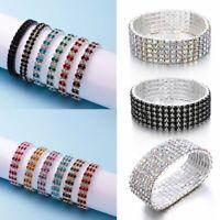 Wedding Bridal Women Elastic Bracelet Full Crystal Rhinestone Bangle Jewelry