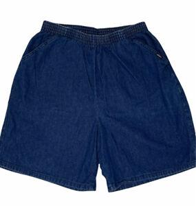 Vintage Chic Pull-On Shorts Size 14 Elastic High Waist Jean Mom Dark Blue Denim
