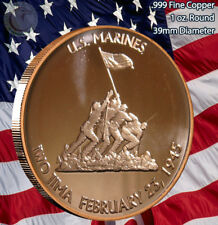 """US Marines IWO JIMA"" 1 oz .999 Copper Round"