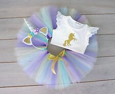 Unicorn 3 Piece Cake Smash Outfit - 1st Birthday Set - Photography Prop