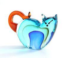 "New 7"" Hand Blown Art Glass Cat Figurine Sculpture Statue Blue Amber Decorative"