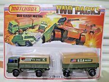 Lesney Matchbox 1975 TP15A 4TS702K/USA48350 Labels MILITARY TruckTrailer TwoPack