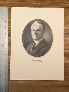 Calvin Coolidge   - VINTAGE PRESIDENT PRINT 1960s LOOKS LIKE LITHOGRAPH V7