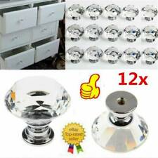 CLEAR CRYSTAL DIAMOND GLASS DOOR KNOBS CUPBOARD DRAWER FURNITURE HANDLE CABINET