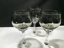 "SASAKI CORONATION-SMOKE Crystal Wine Glasses Gray Bowl Twisted Stem 6"" Set of 3"