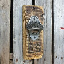Rustic Wooden Wall Mounted Beer Bottle Opener with GWR Opener, unique