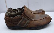 Skechers Brown Leather Slip On Loafer Bicycle Toe Driving Casual Men Shoes 8M 41