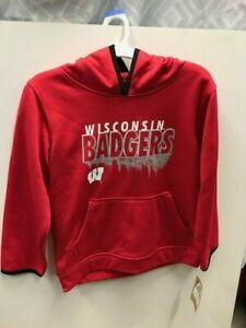 WISCONSIN BADGERS hooded sweatshirt HOODIE red youth size M or L NEW