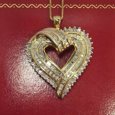 WoW New 14k Yellow Gold Sterling Silver 1 Ct Carat Diamond Pave Heart Pendant